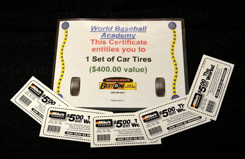 Set of New Tires + Car Wash Gift Cards