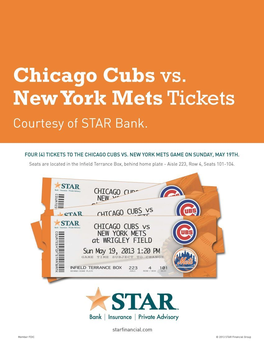 Chicago Cubs vs NY Mets Tickets