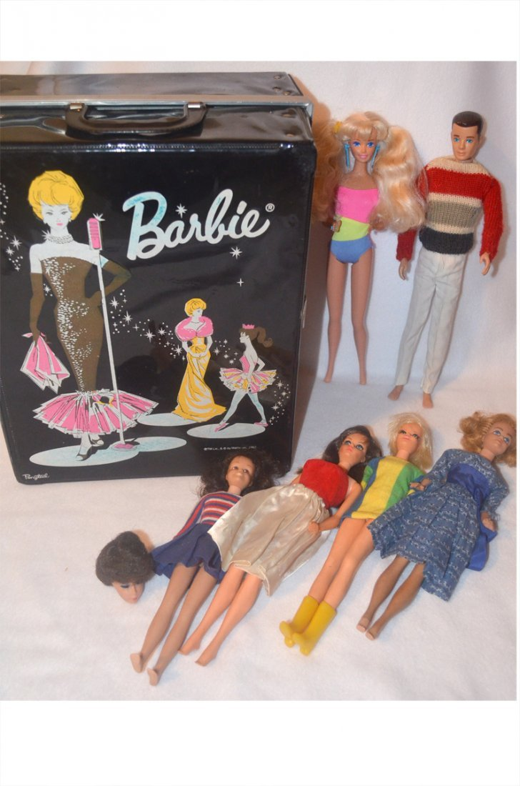 Vintage Barbie Dolls, Carrying Case, & Outfits