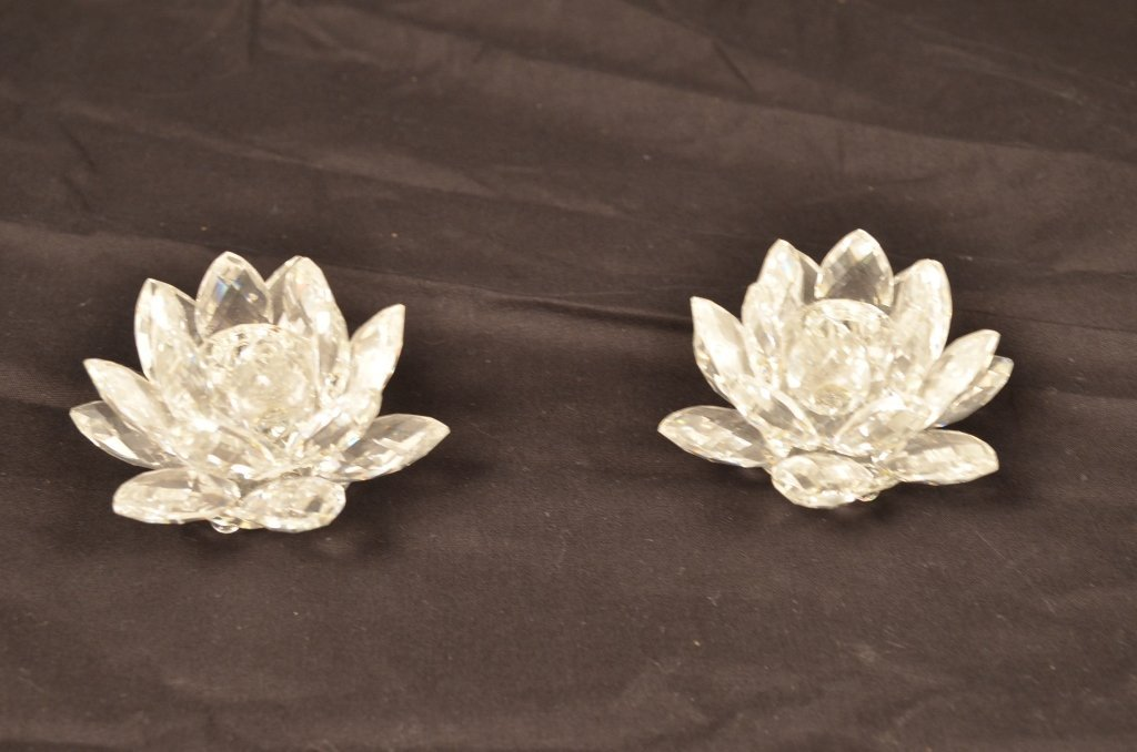 Pair of Crystal Flower Candle Holders