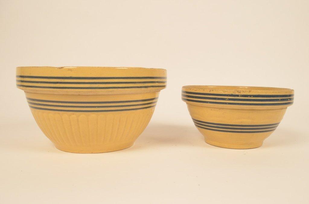Pair of Banded Yellow Ware Bowls