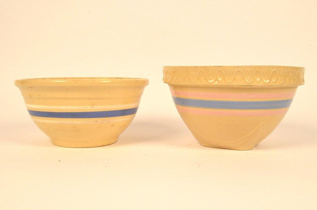 (2) Banded Yellow Ware Bowls