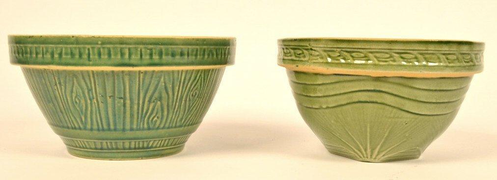 (2) Green Stoneware Bowls