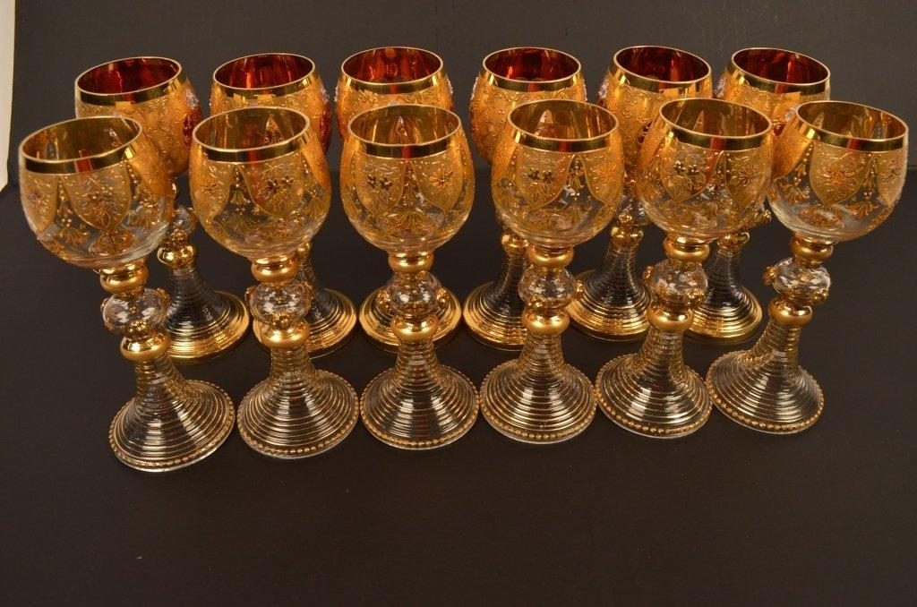(12) Bohemian Stemware Glasses