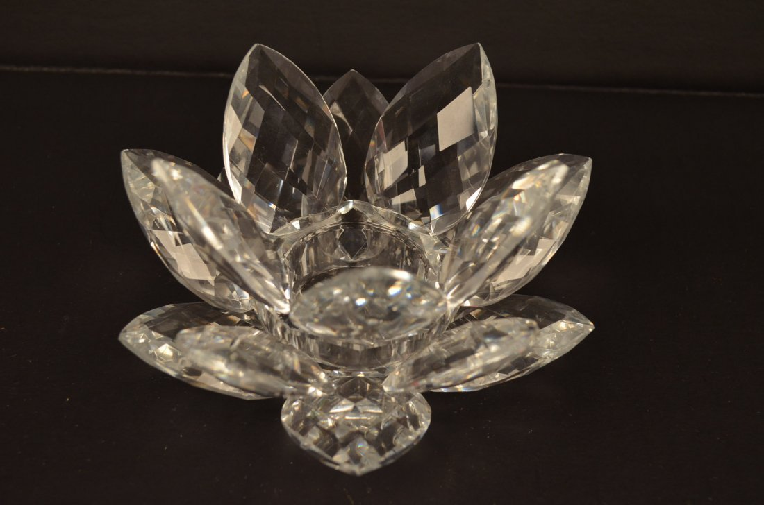 Smith & Hawken Crystal Lotus Flower Candle Holder
