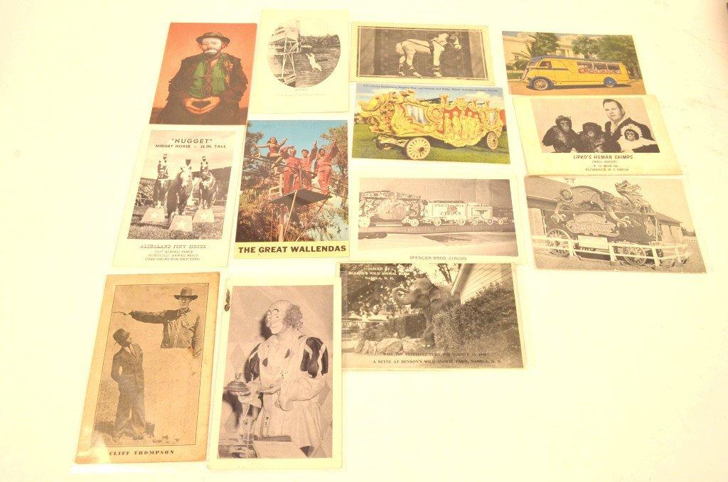 (13) Vintage Postcards (Carnival & Circus)