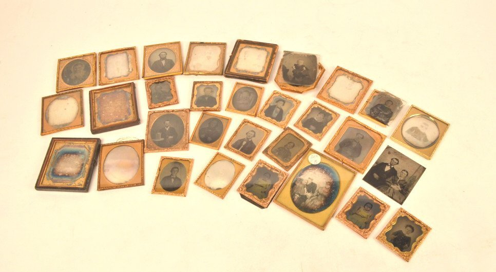Assorted Tintypes, Daguerreotypes & Partial Cases