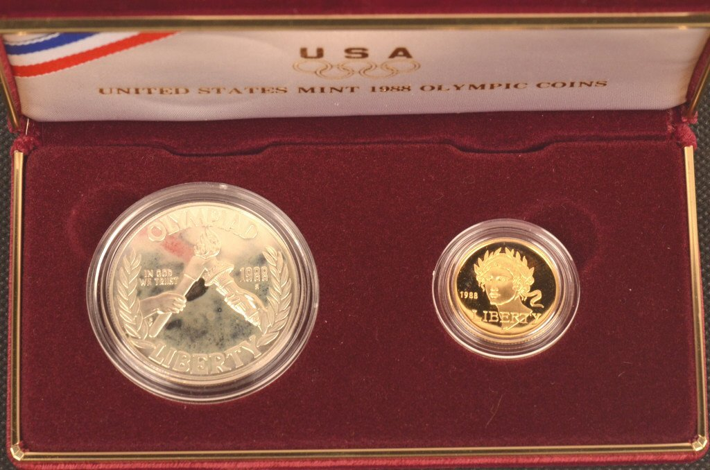 1988 Proof Silver Dollar and Gold Five Dollar
