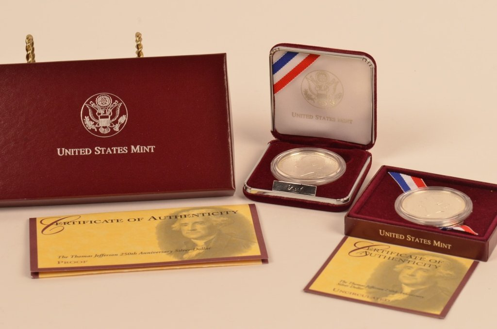 Thomas Jefferson 250th Ann. & Eisenhower Silver