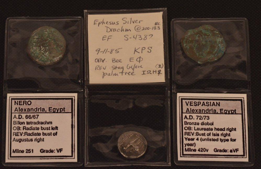 Ephesus Silver Drachm 200-133 B.C. & 2 Egypt Coins