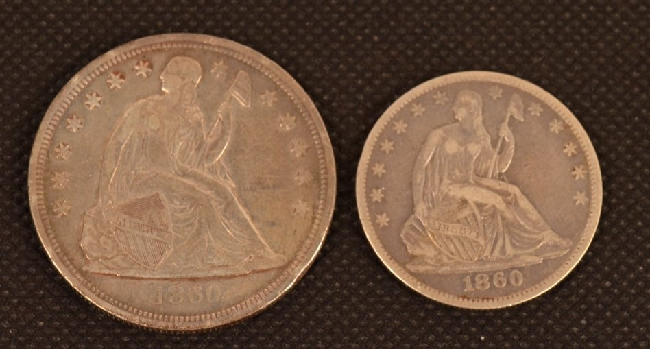 1860 Liberty Seated Dollar & Half Dollar