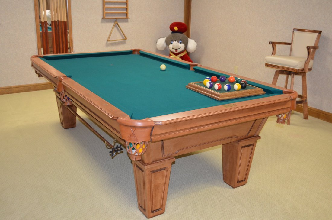 Gandy Mayfair Oak Three Slate Pool Table W/ Accessories