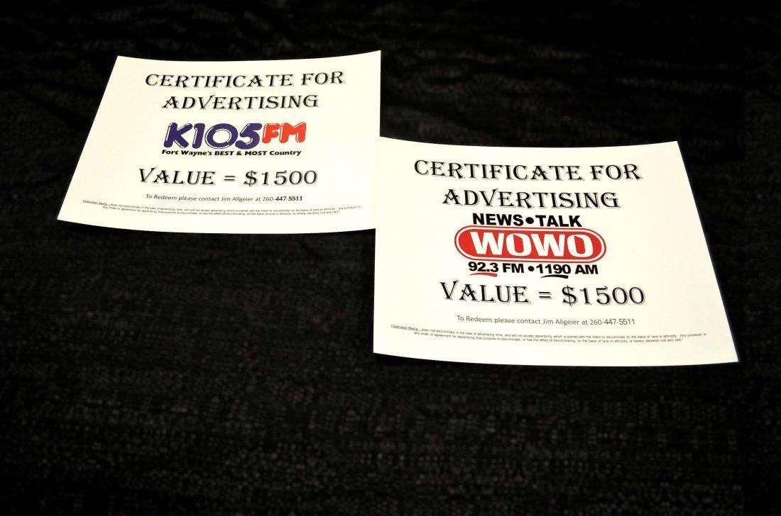 WOWO / K105 RADIO STATION ADVERTISING - $3,000 Package
