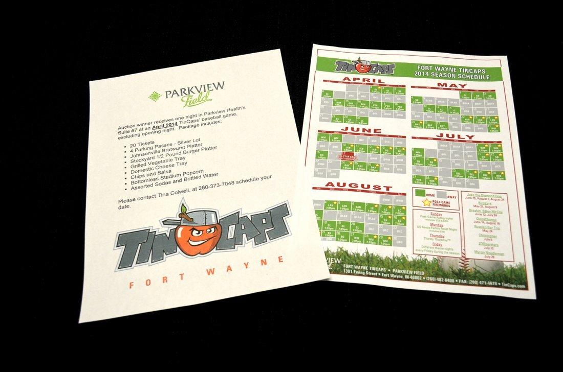 FORT WAYNE TINCAPS SUITE PACKAGE:   $1,000 Value