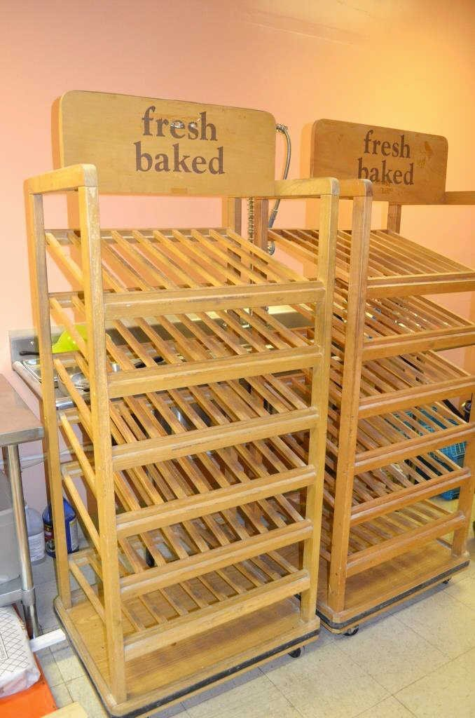 Pair of Wooden Bakery Display Racks
