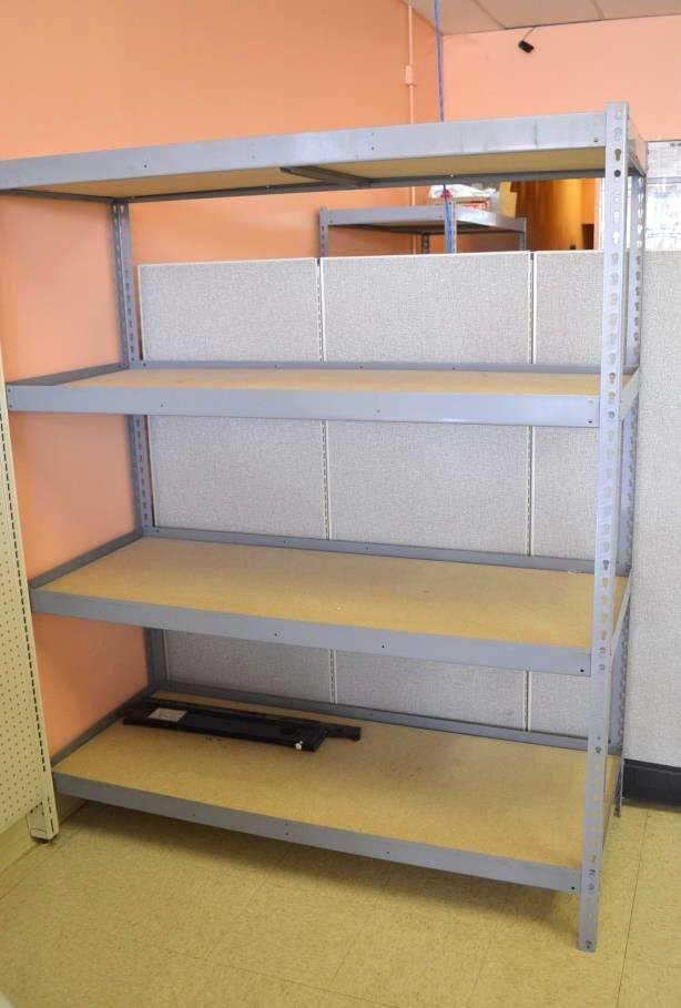(2) Metal Racks W/ Composite Wood Shelf Inserts