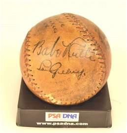 *PSA DNA Babe Ruth & Lou Gehrig Signed Baseball