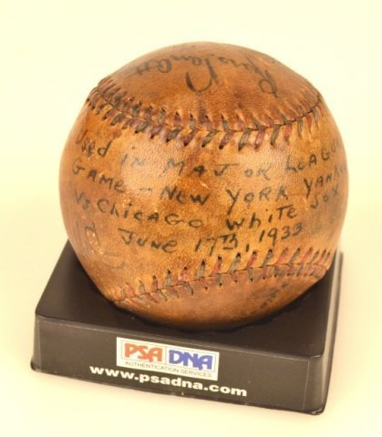 *PSA DNA Babe Ruth & Lou Gehrig Signed Baseball - 6