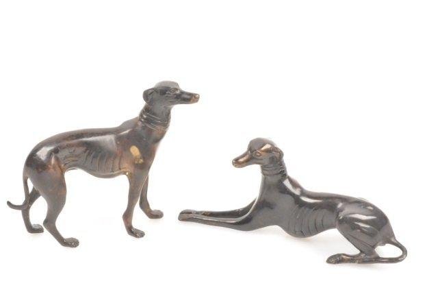 (2) Bronze Greyhound Dog Figurines