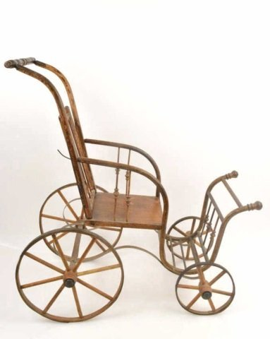 *1800's Baby Doll Bent Wood Stroller