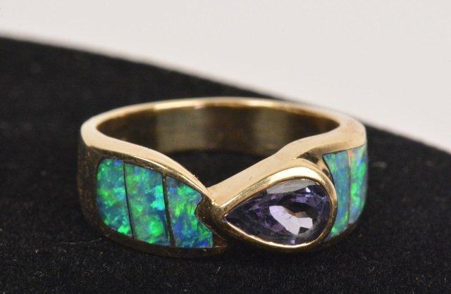 Ladies 14K Gold Tanzanite Opal Inlay  Ring