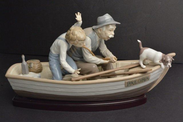 *Lladro 5215 RETIRED Fishing W/ Grandpa Porcelain