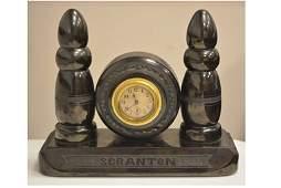 *1900's Scranton Mantel Carved Coal Clock RARE!