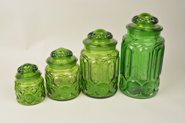 *(4) Vintage Moon & Stars Green Glass Canister Set