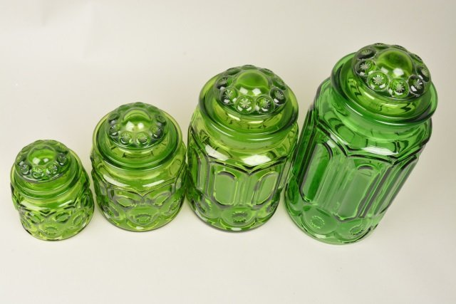 *(4) Vintage Moon & Stars Green Glass Canister Set - 2