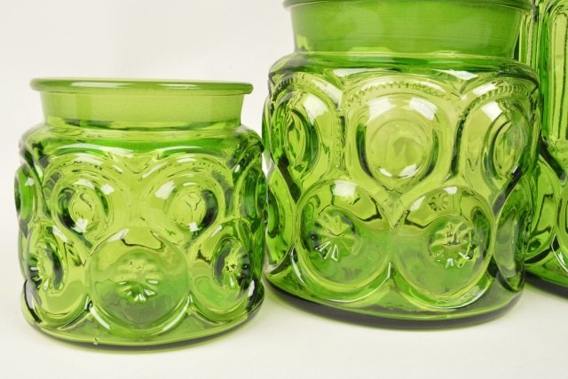 *(4) Vintage Moon & Stars Green Glass Canister Set - 3