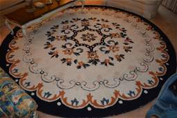*9 x 3 Medallion Round Area Rug Floral Design