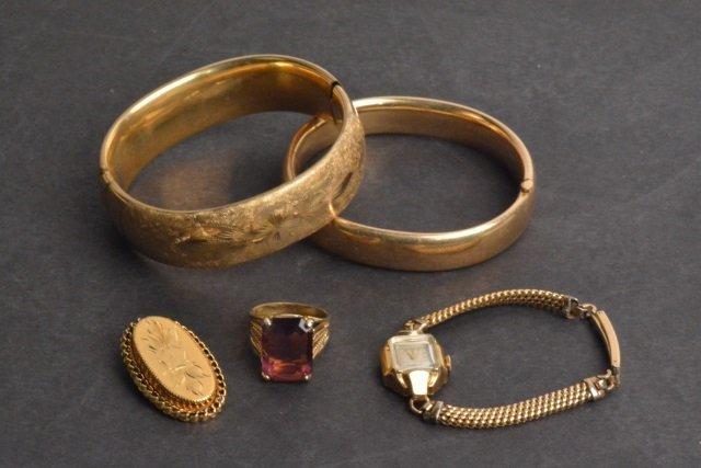 Ladies Bulova Gold Filled Watch & Jewelry