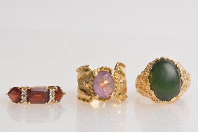 *(3) 14K Gold Ladies Vintage Rings
