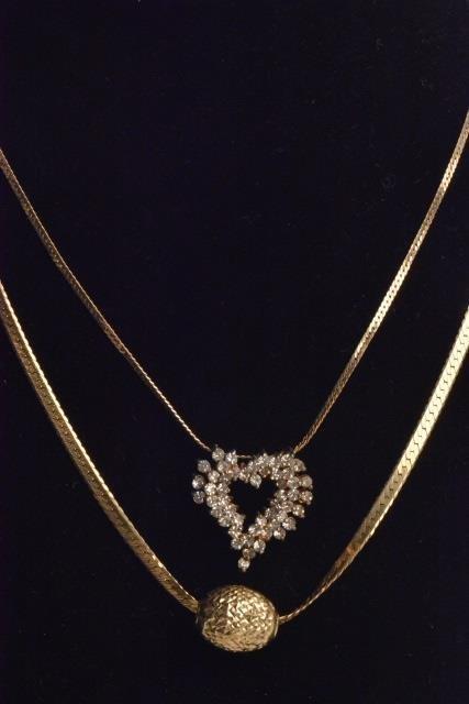 *(2) 14K Gold Ladies Necklaces