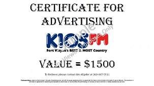 WOWO / K105 RADIO STATION ADVERTISING:  $3,000 VALUE