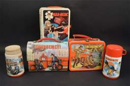 (3) Emergency Vintage Metal Lunch Boxes