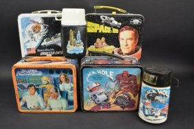 (4) Vintage Space Theme Children's Lunch Boxes