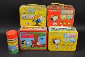 (4) Peanuts Vintage Lunch Boxes