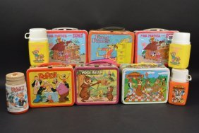 (6) Animated Cartoon Vintage Lunch Boxes