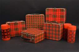 (5) Luggage Plaid Vintage Metal Lunch Boxes