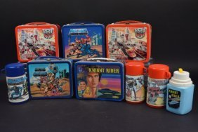 (5) Boys Theme Vintage Metal Lunch Boxes