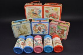 (5) Vintage Girl's Theme Lunch Boxes (5) Thermoses