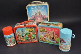 (3) Vintage Walt Disney Lunch Boxes (2) Thermoses