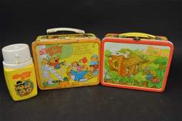 (2) Children's Storybook Vintage Metal Lunch Boxes