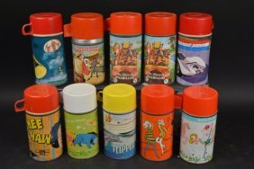 (10) 1960's - 70's Children's Lunch Box Thermoses