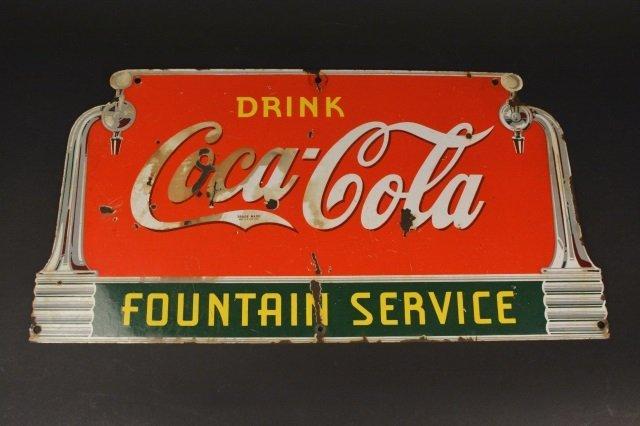 1930's Porcelain Coca-Cola  Fountain Service Sign
