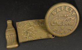 Coca-cola Brass Buckle, Emblem & Bottle