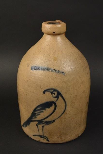 Whites Uticas Stoneware Pottery Jug Cobalt Bird
