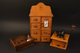 Star Egg Crate, Antique Coffee Grinder & Spice Box