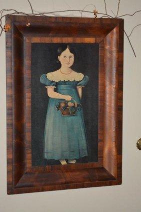 Girl W/ Basket Portrait On Board Primitive Replica